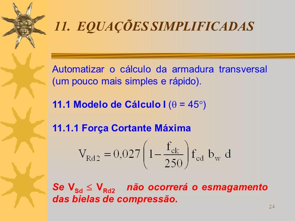 24 11. EQUAÇÕES SIMPLIFICADAS Automatizar o cálculo da armadura transversal (um pouco mais simples e rápido). 11.1 Modelo de Cálculo I ( = 45 ) 11.1.1