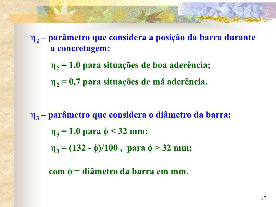 17 2 – parâmetro que considera a posição da barra durante a concretagem: 2 = 1,0 para situações de boa aderência; 2 = 0,7 para situações de má aderênc