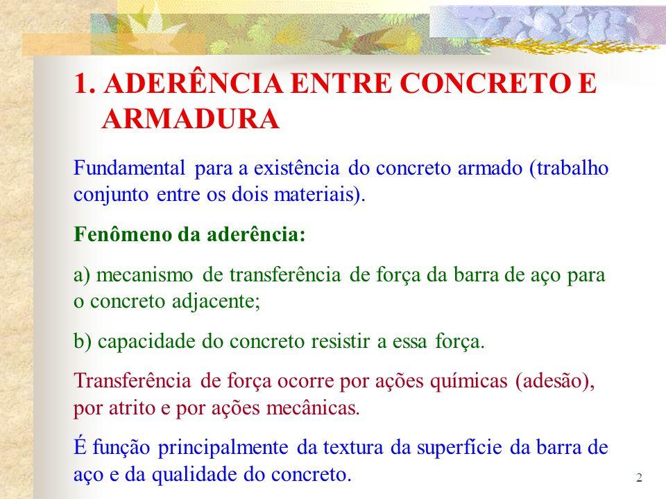 2 1. ADERÊNCIA ENTRE CONCRETO E ARMADURA Fundamental para a existência do concreto armado (trabalho conjunto entre os dois materiais). Fenômeno da ade