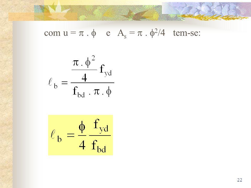 22 com u =. e A s =. 2 /4 tem-se: