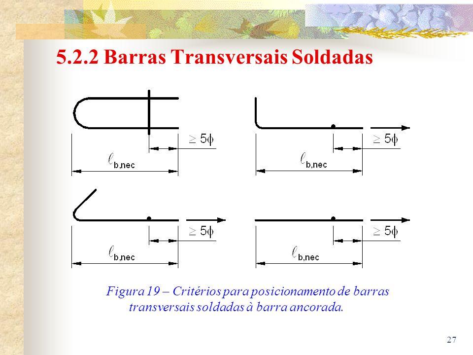 27 5.2.2 Barras Transversais Soldadas Figura 19 – Critérios para posicionamento de barras transversais soldadas à barra ancorada.