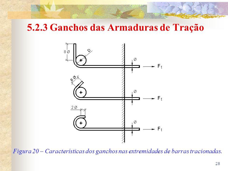 28 5.2.3 Ganchos das Armaduras de Tração Figura 20 – Características dos ganchos nas extremidades de barras tracionadas.