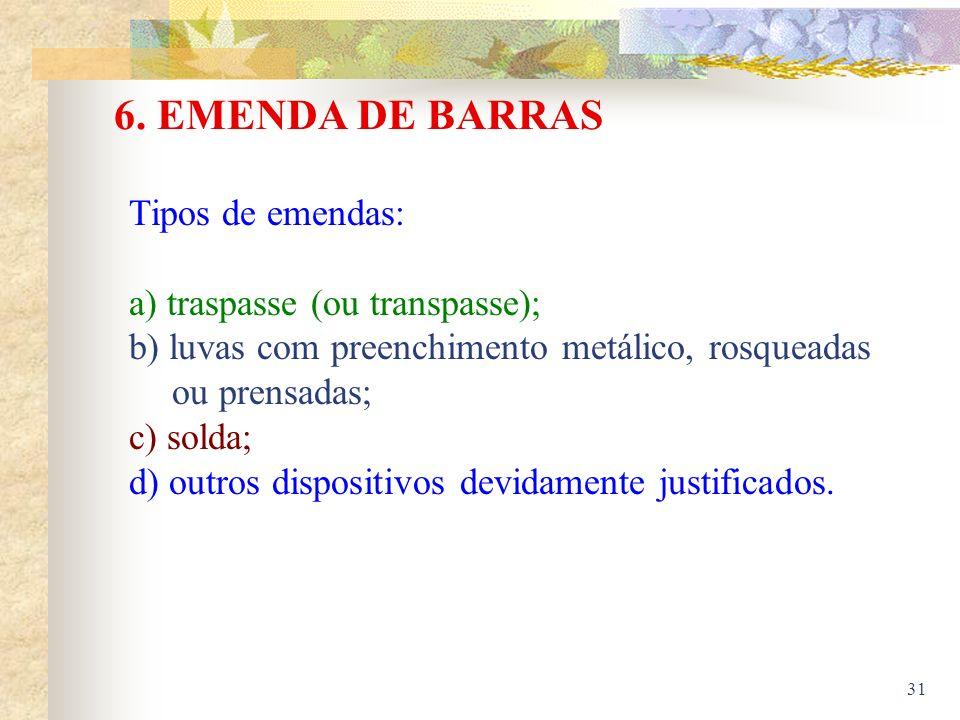 31 6. EMENDA DE BARRAS Tipos de emendas: a) traspasse (ou transpasse); b) luvas com preenchimento metálico, rosqueadas ou prensadas; c) solda; d) outr