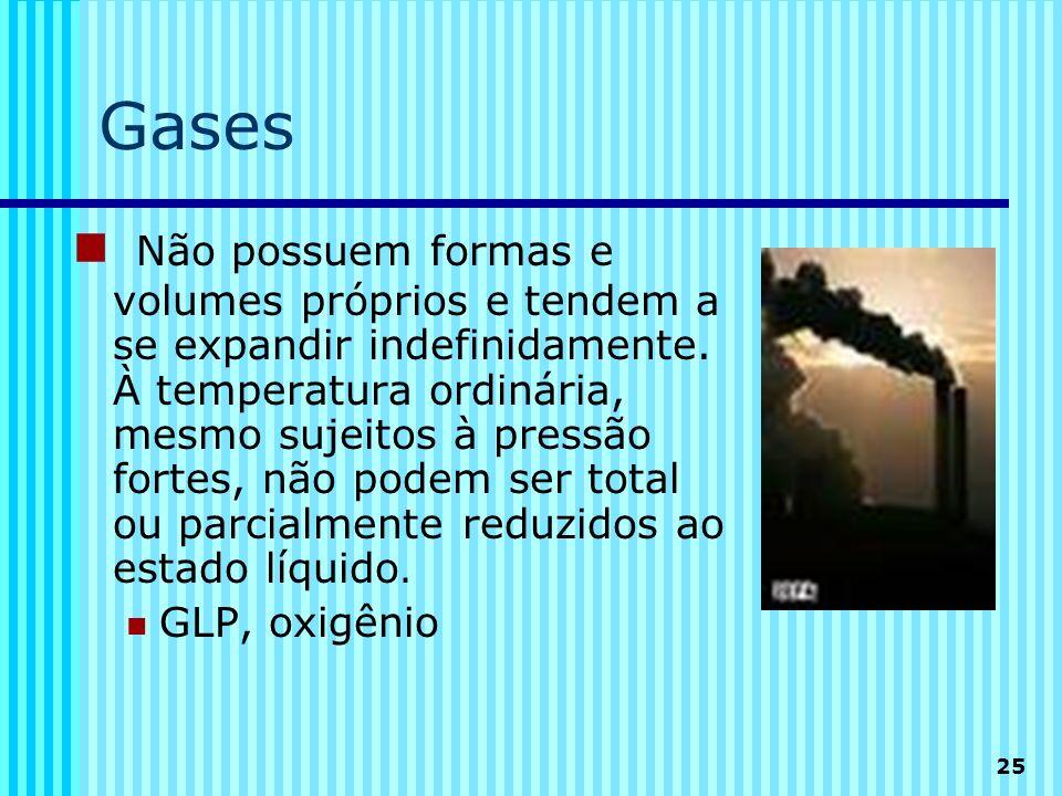 25 Gases Não possuem formas e volumes próprios e tendem a se expandir indefinidamente. À temperatura ordinária, mesmo sujeitos à pressão fortes, não p