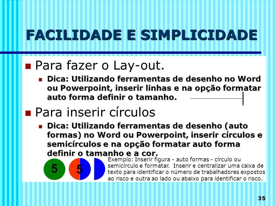 35 FACILIDADE E SIMPLICIDADE Para fazer o Lay-out. Dica: Utilizando ferramentas de desenho no Word ou Powerpoint, inserir linhas e na opção formatar a