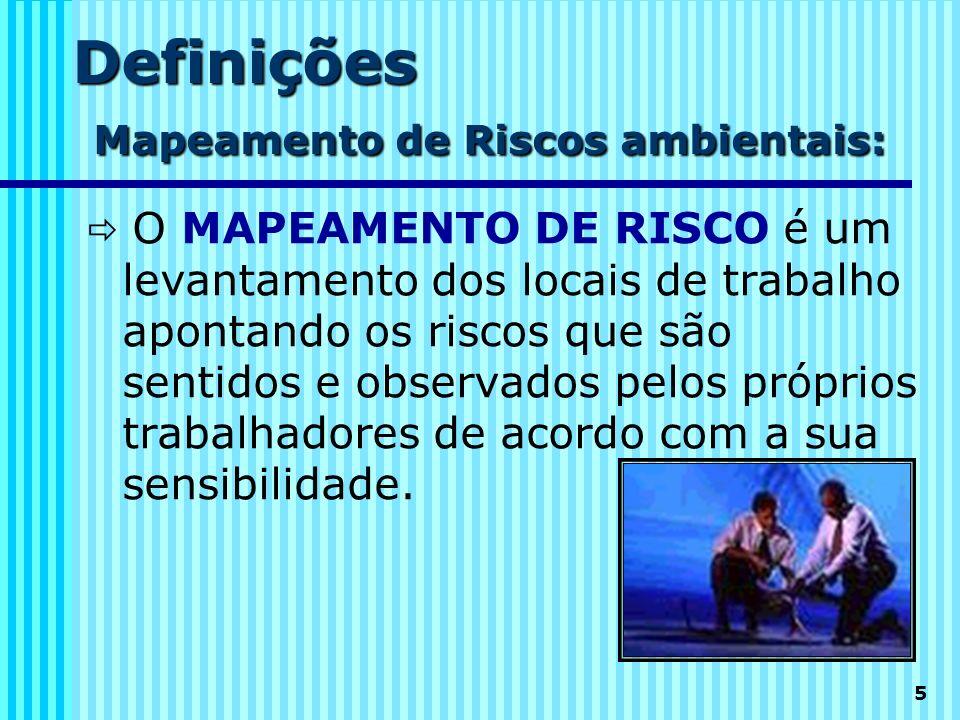 5 Definições Mapeamento de Riscos ambientais: O MAPEAMENTO DE RISCO é um levantamento dos locais de trabalho apontando os riscos que são sentidos e ob