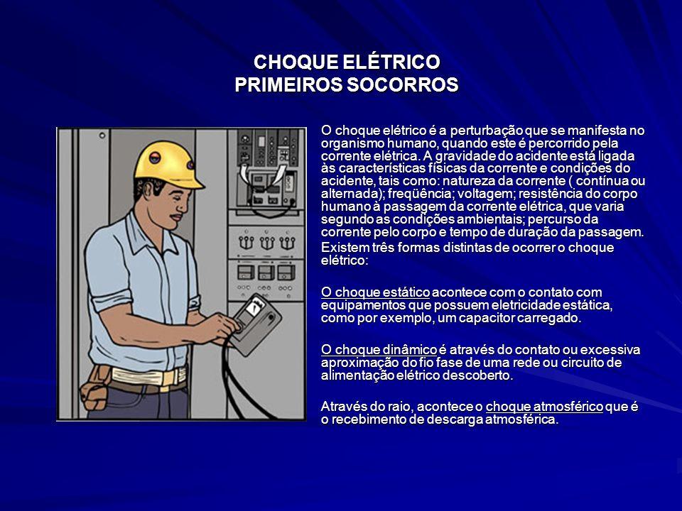 CHOQUE ELÉTRICO PRIMEIROS SOCORROS O choque elétrico é a perturbação que se manifesta no organismo humano, quando este é percorrido pela corrente elét