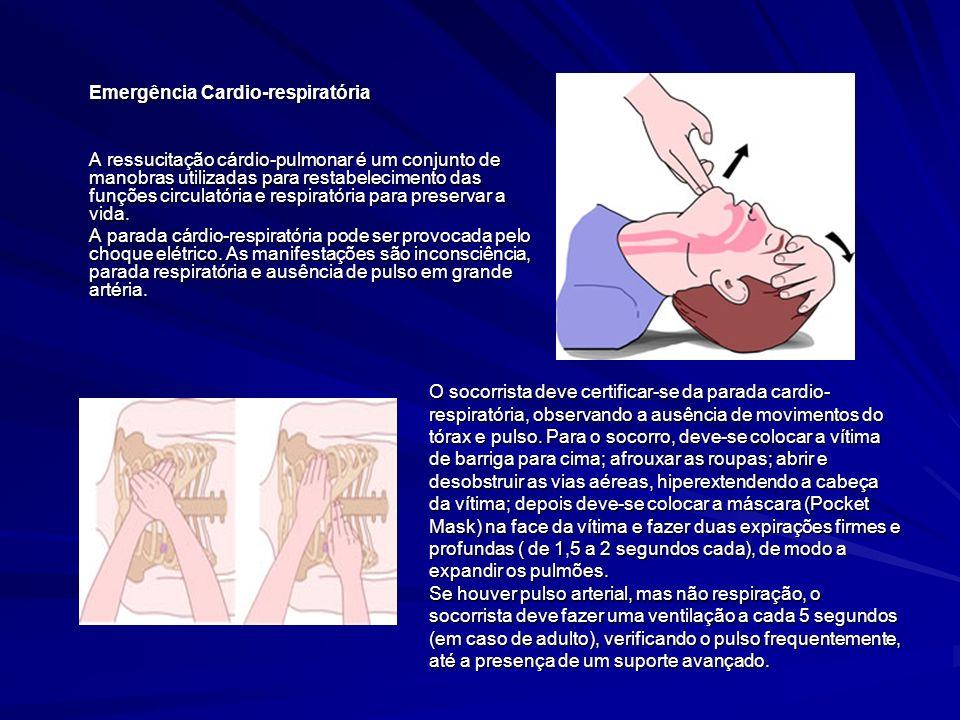 Emergência Cardio-respiratória A ressucitação cárdio-pulmonar é um conjunto de manobras utilizadas para restabelecimento das funções circulatória e re