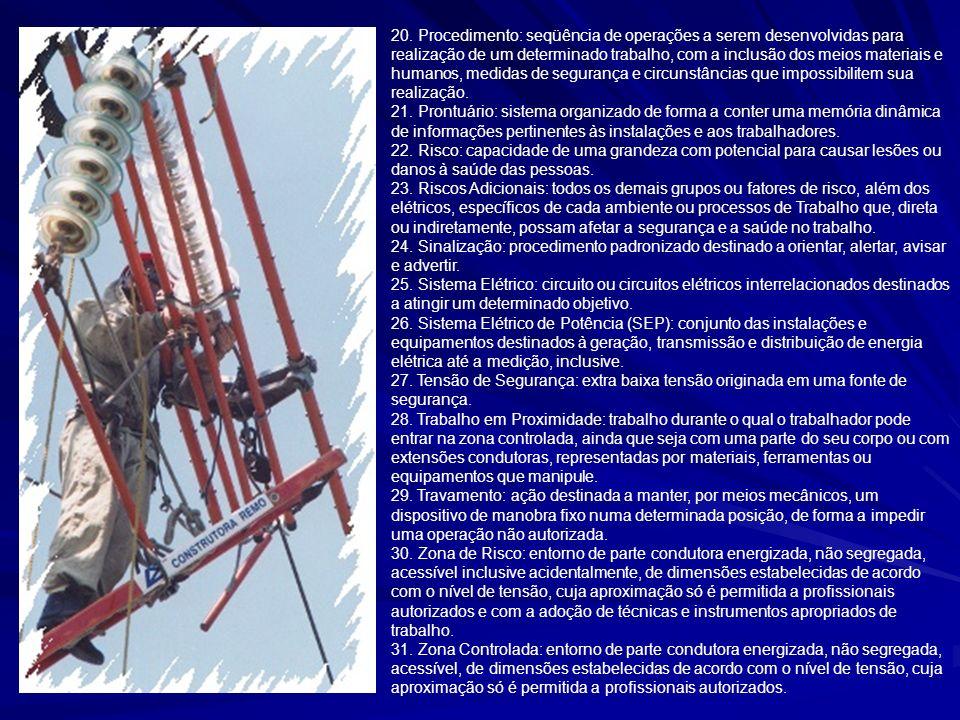 20. Procedimento: seqüência de operações a serem desenvolvidas para realização de um determinado trabalho, com a inclusão dos meios materiais e humano