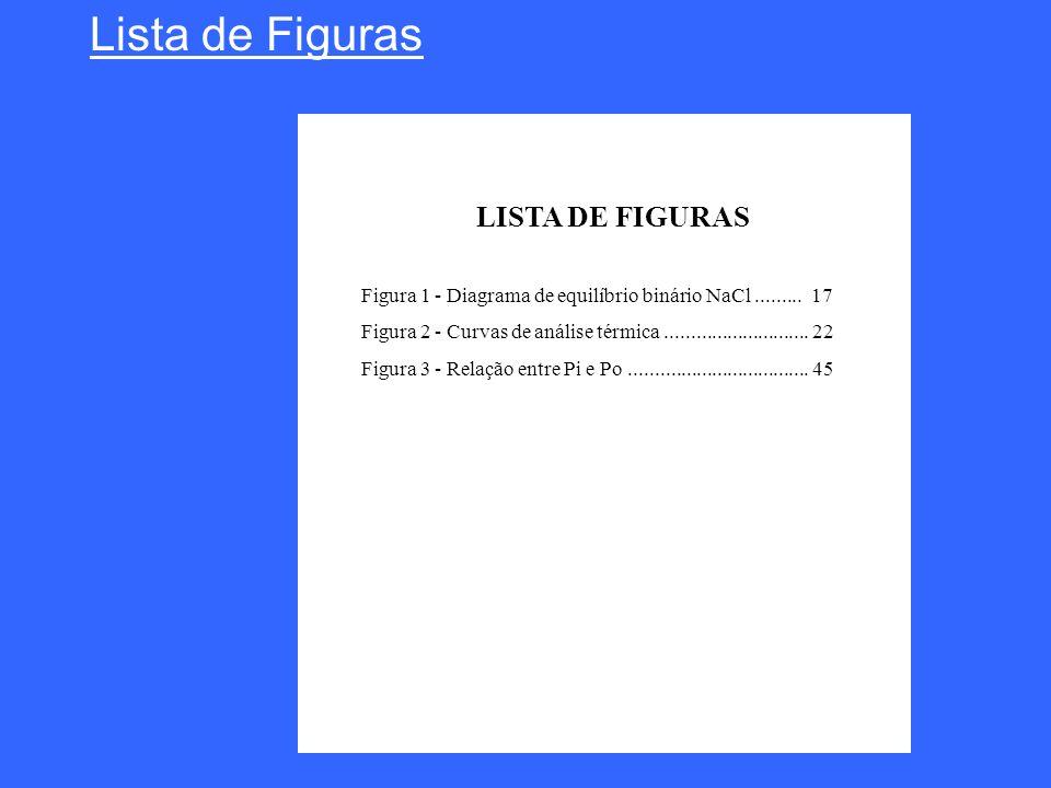 Lista de Figuras LISTA DE FIGURAS Figura 1 - Diagrama de equilíbrio binário NaCl......... 17 Figura 2 - Curvas de análise térmica.....................