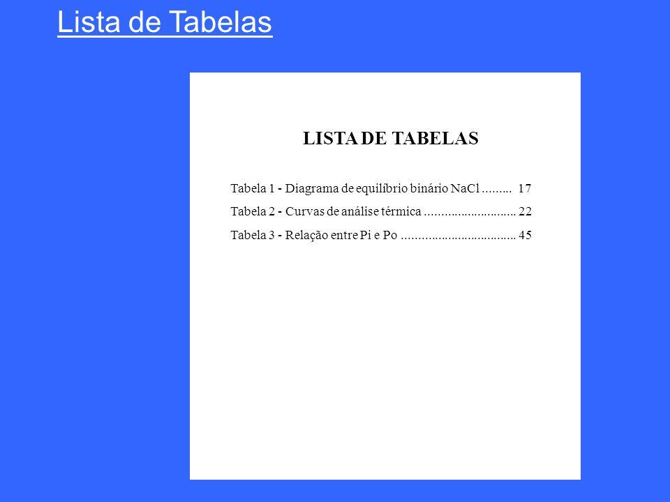 Lista de Tabelas LISTA DE TABELAS Tabela 1 - Diagrama de equilíbrio binário NaCl......... 17 Tabela 2 - Curvas de análise térmica.....................