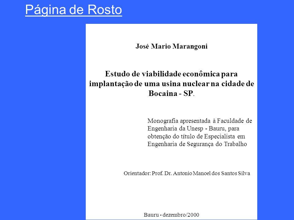 José Mario Marangoni Estudo de viabilidade econômica para implantação de uma usina nuclear na cidade de Bocaina - SP. Orientador: Prof. Dr. Antonio Ma