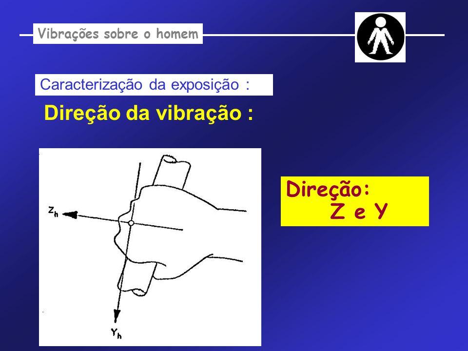 Vibrações sobre o homem Caracterização da exposição : Direção da vibração : Direção: Z e Y