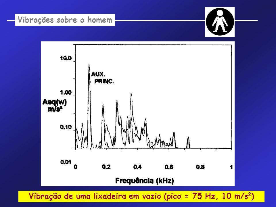 Vibração de uma lixadeira em vazio (pico = 75 Hz, 10 m/s 2 ) Vibrações sobre o homem