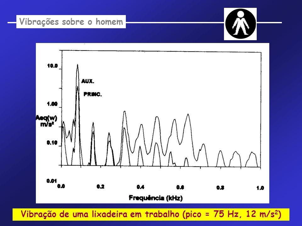 Vibração de uma lixadeira em trabalho (pico = 75 Hz, 12 m/s 2 ) Vibrações sobre o homem
