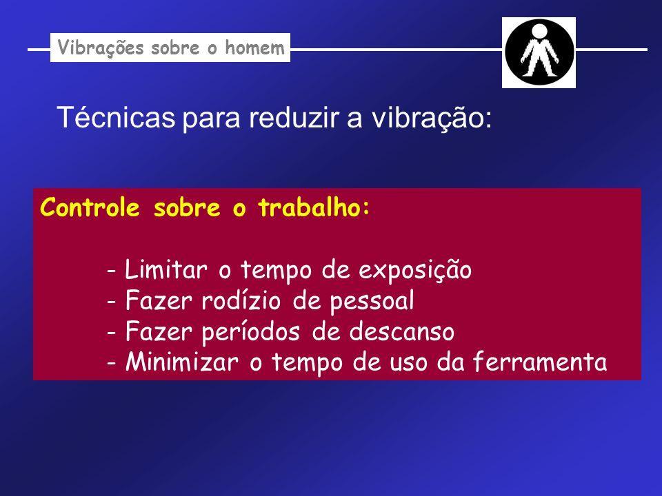 Vibrações sobre o homem Técnicas para reduzir a vibração: Controle sobre o trabalho: - Limitar o tempo de exposição - Fazer rodízio de pessoal - Fazer