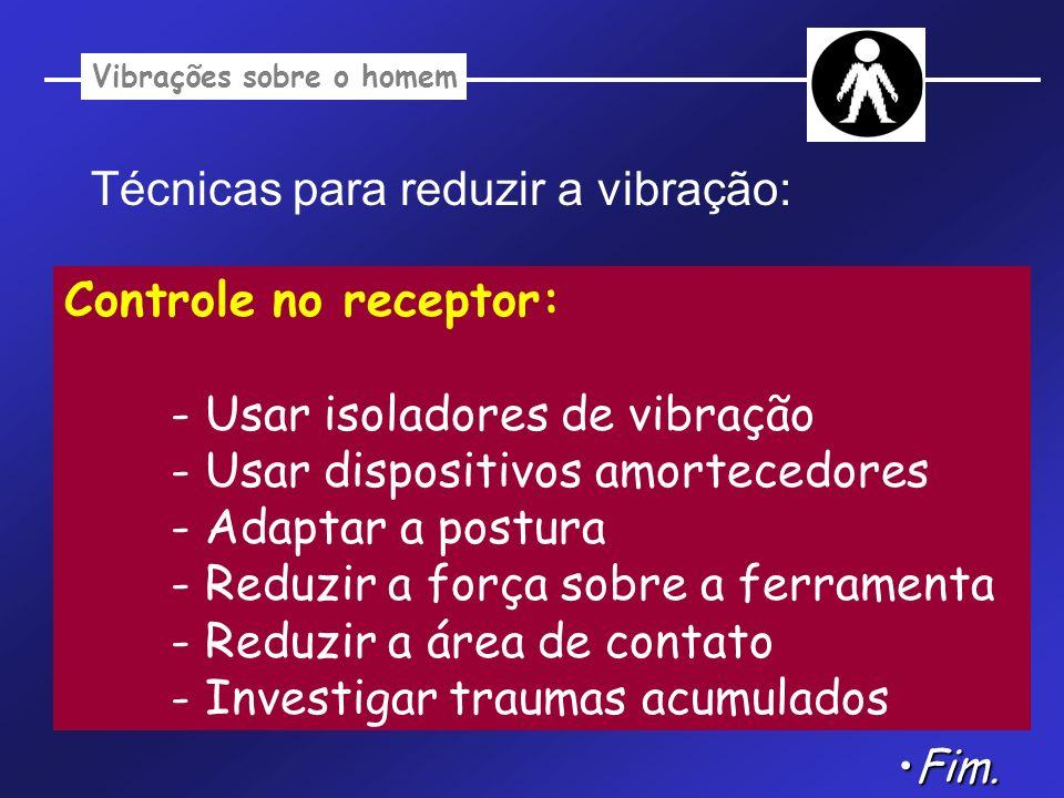 Vibrações sobre o homem Técnicas para reduzir a vibração: Controle no receptor: - Usar isoladores de vibração - Usar dispositivos amortecedores - Adap