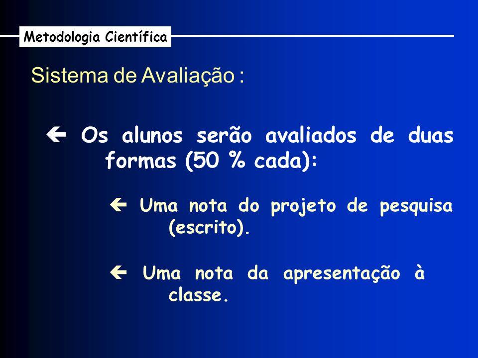 Os alunos serão avaliados de duas formas (50 % cada): Sistema de Avaliação : Uma nota do projeto de pesquisa (escrito). Uma nota da apresentação à cla