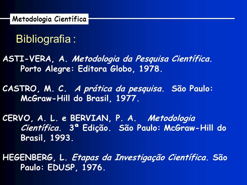 Bibliografia : ASTI-VERA, A. Metodologia da Pesquisa Científica. Porto Alegre: Editora Globo, 1978. CASTRO, M. C. A prática da pesquisa. São Paulo: Mc