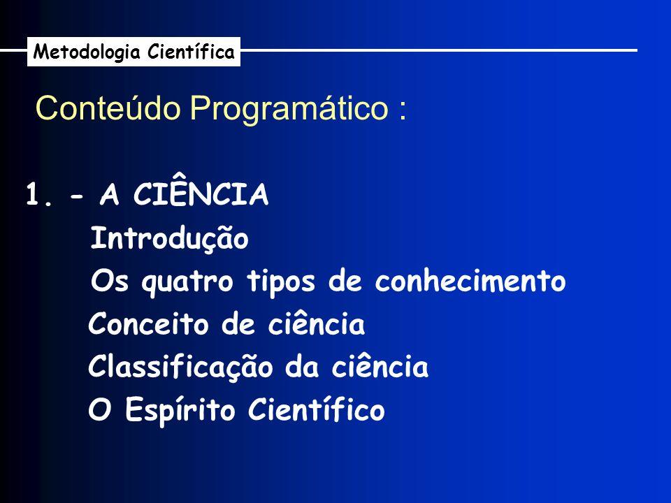 1. - A CIÊNCIA Introdução Os quatro tipos de conhecimento Conceito de ciência Classificação da ciência O Espírito Científico Conteúdo Programático : M
