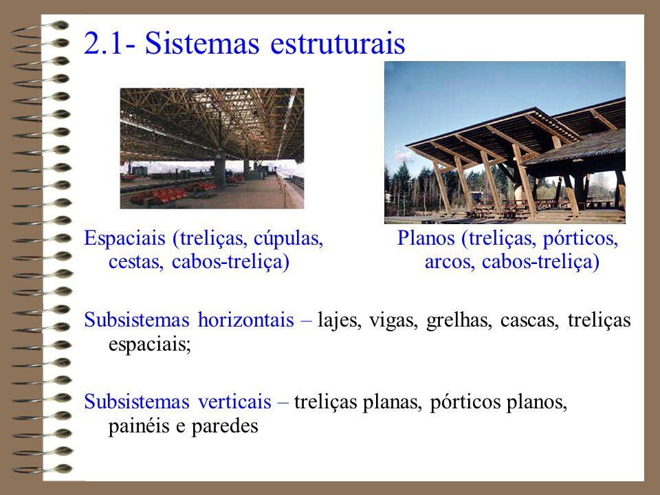 2.1- Sistemas estruturais Espaciais (treliças, cúpulas, Planos (treliças, pórticos, cestas, cabos-treliça) arcos, cabos-treliça) Subsistemas horizonta