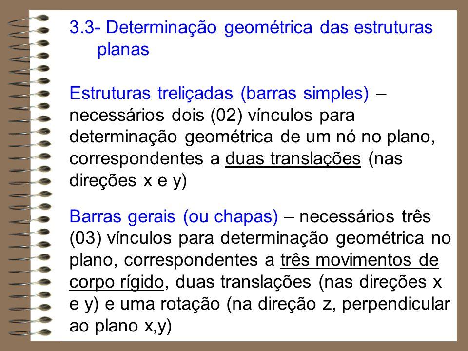 3.3- Determinação geométrica das estruturas planas Estruturas treliçadas (barras simples) – necessários dois (02) vínculos para determinação geométric