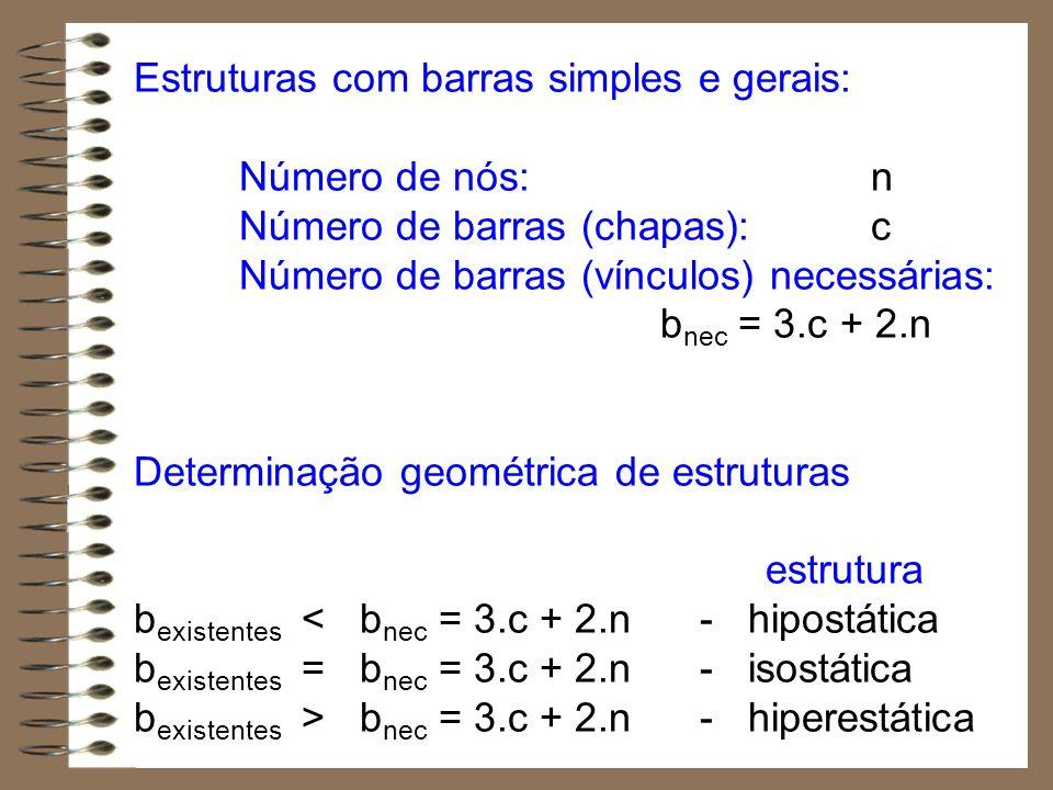 Estruturas com barras simples e gerais: Número de nós: n Número de barras (chapas):c Número de barras (vínculos) necessárias: b nec = 3.c + 2.n Determ
