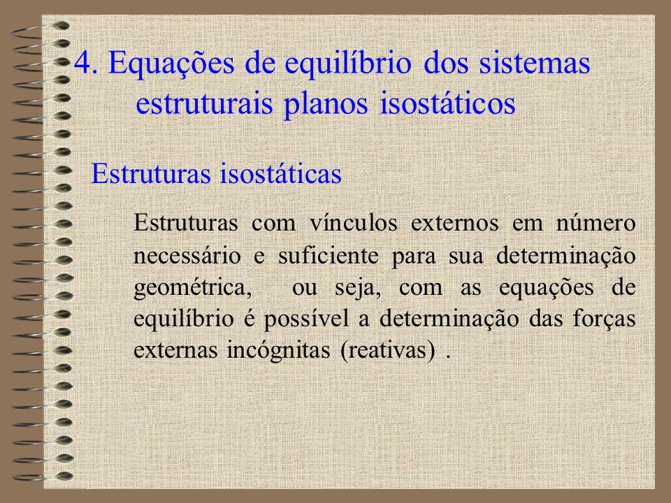 4. Equações de equilíbrio dos sistemas estruturais planos isostáticos Estruturas isostáticas Estruturas com vínculos externos em número necessário e s