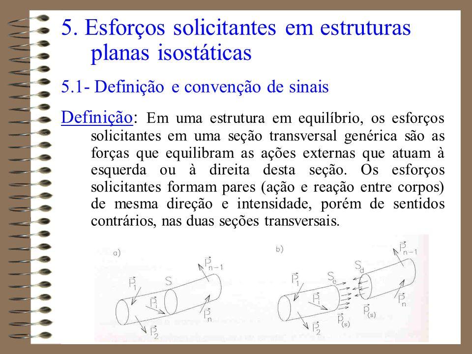 5. Esforços solicitantes em estruturas planas isostáticas 5.1- Definição e convenção de sinais Definição: Em uma estrutura em equilíbrio, os esforços