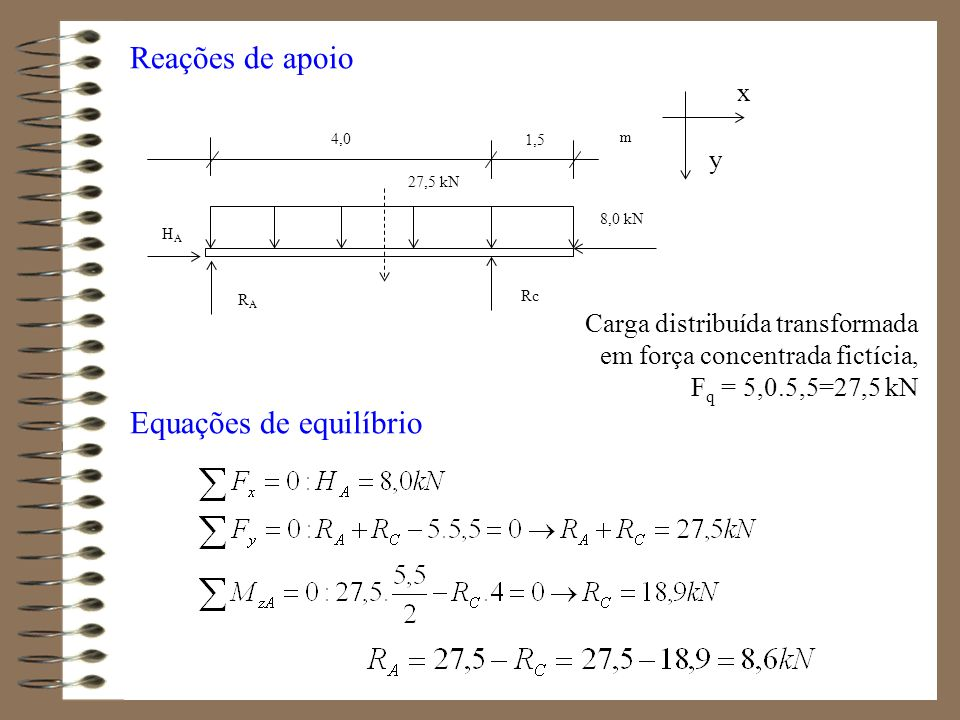Reações de apoio Carga distribuída transformada em força concentrada fictícia, F q = 5,0.5,5=27,5 kN Equações de equilíbrio x y 27,5 kN RARA Rc HAHA 4