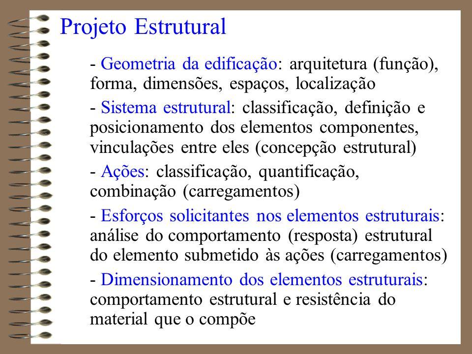 Projeto Estrutural - Geometria da edificação: arquitetura (função), forma, dimensões, espaços, localização - Sistema estrutural: classificação, defini