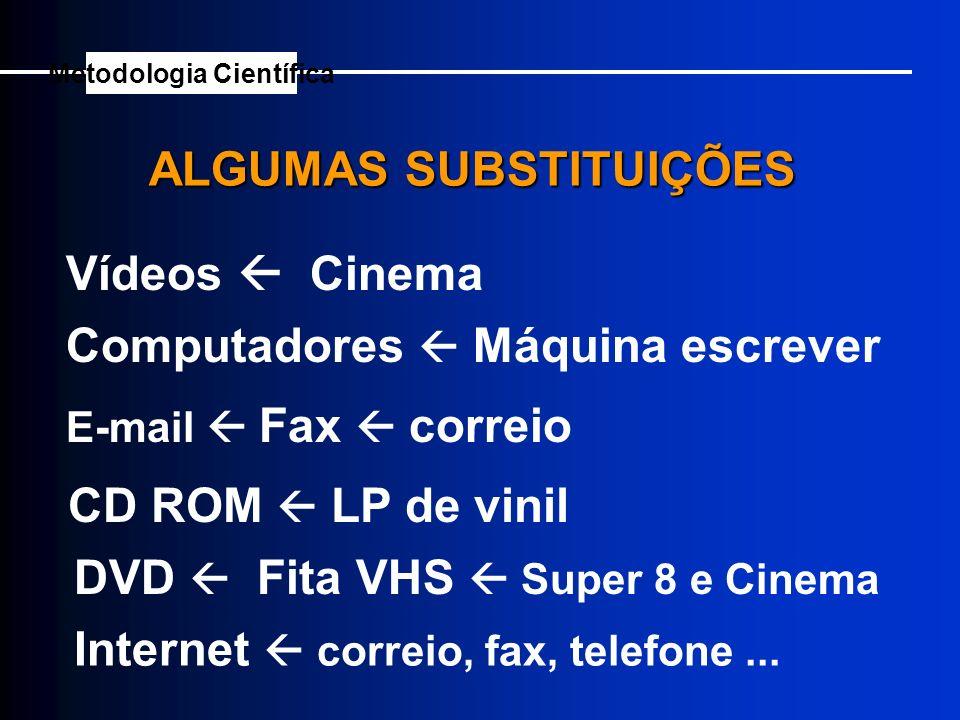 Vídeos Cinema Computadores Máquina escrever E-mail Fax correio CD ROM LP de vinil DVD Fita VHS Super 8 e Cinema Internet correio, fax, telefone... ALG