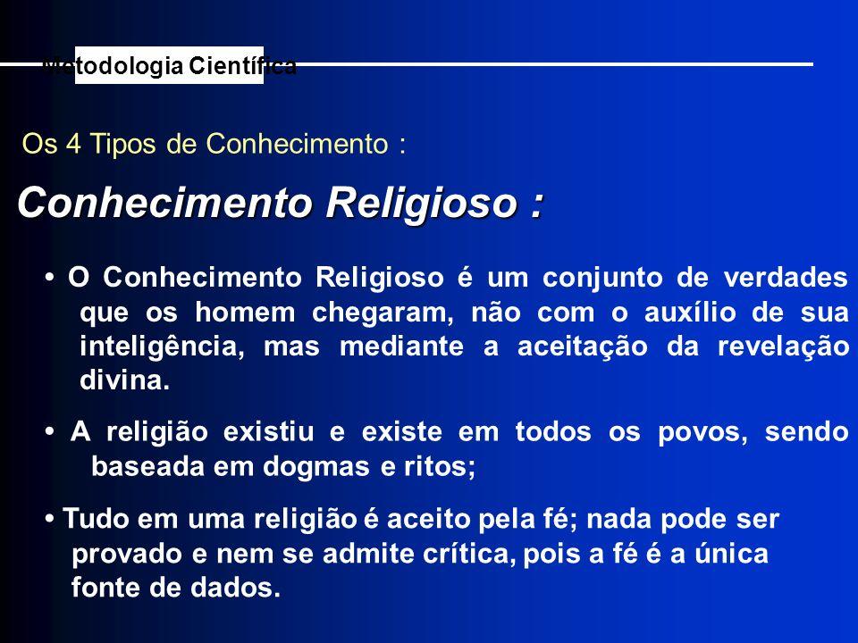 Os 4 Tipos de Conhecimento : Conhecimento Religioso : Metodologia Científica A religião existiu e existe em todos os povos, sendo baseada em dogmas e