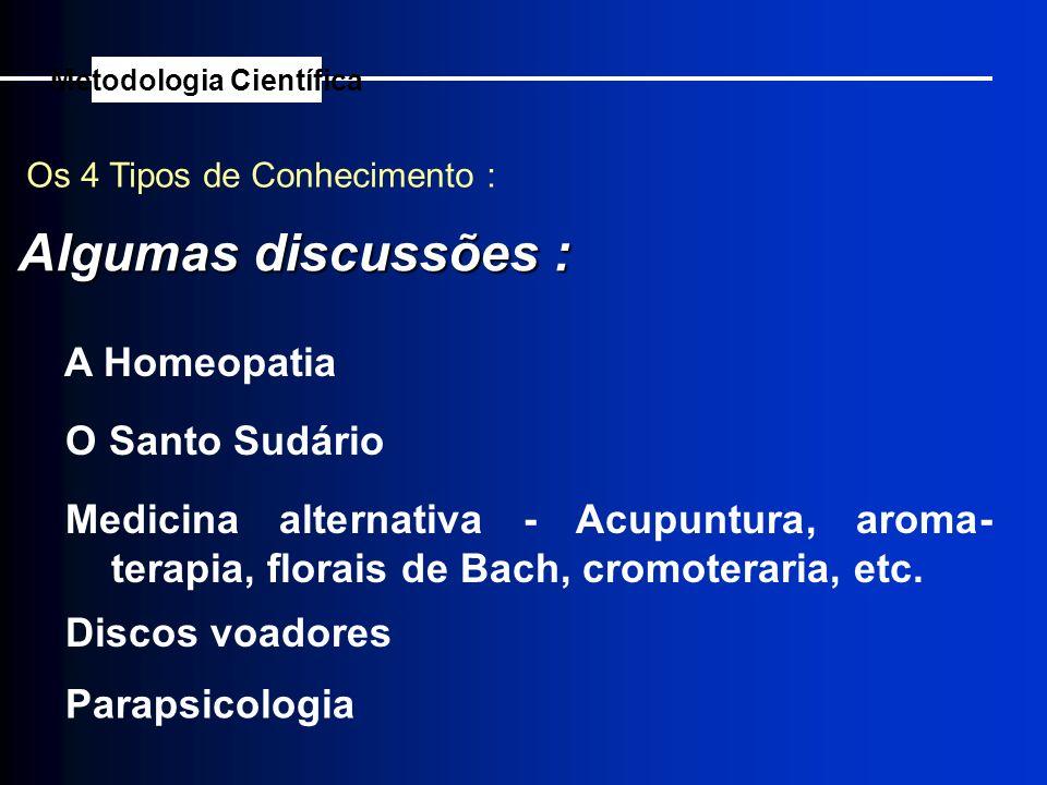 Os 4 Tipos de Conhecimento : Algumas discussões : Metodologia Científica A Homeopatia O Santo Sudário Medicina alternativa - Acupuntura, aroma- terapi