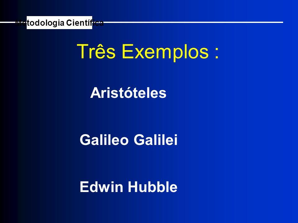 Aristóteles Três Exemplos : Galileo Galilei Edwin Hubble Metodologia Científica