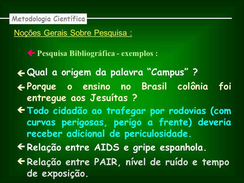 Noções Gerais Sobre Pesquisa : Bibliográfica - exemplos : Metodologia Científica Qual a origem da palavra Campus ? Porque o ensino no Brasil colônia f