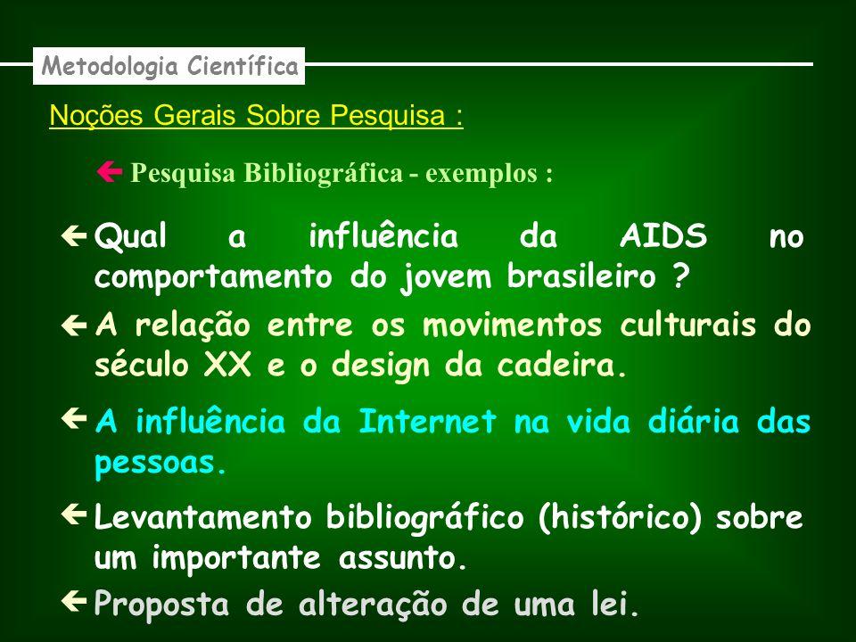 Noções Gerais Sobre Pesquisa : Bibliográfica - exemplos : Metodologia Científica Qual a influência da AIDS no comportamento do jovem brasileiro .