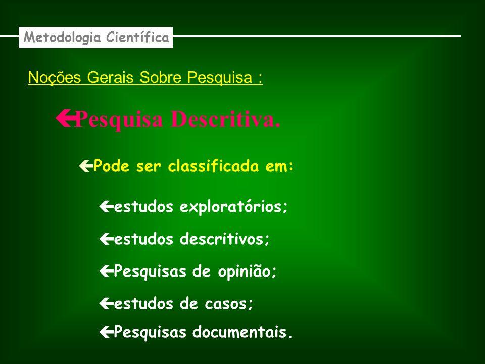 Noções Gerais Sobre Pesquisa : Descritiva.