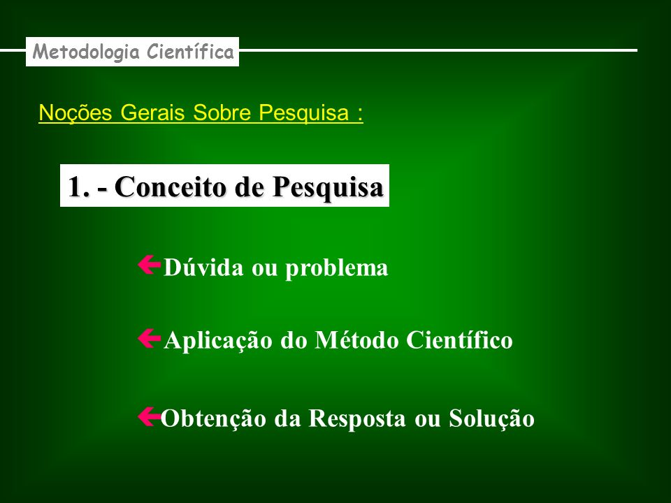 1. - Conceito de Pesquisa Dúvida ou problema Aplicação do Método Científico Obtenção da Resposta ou Solução Metodologia Científica Noções Gerais Sobre