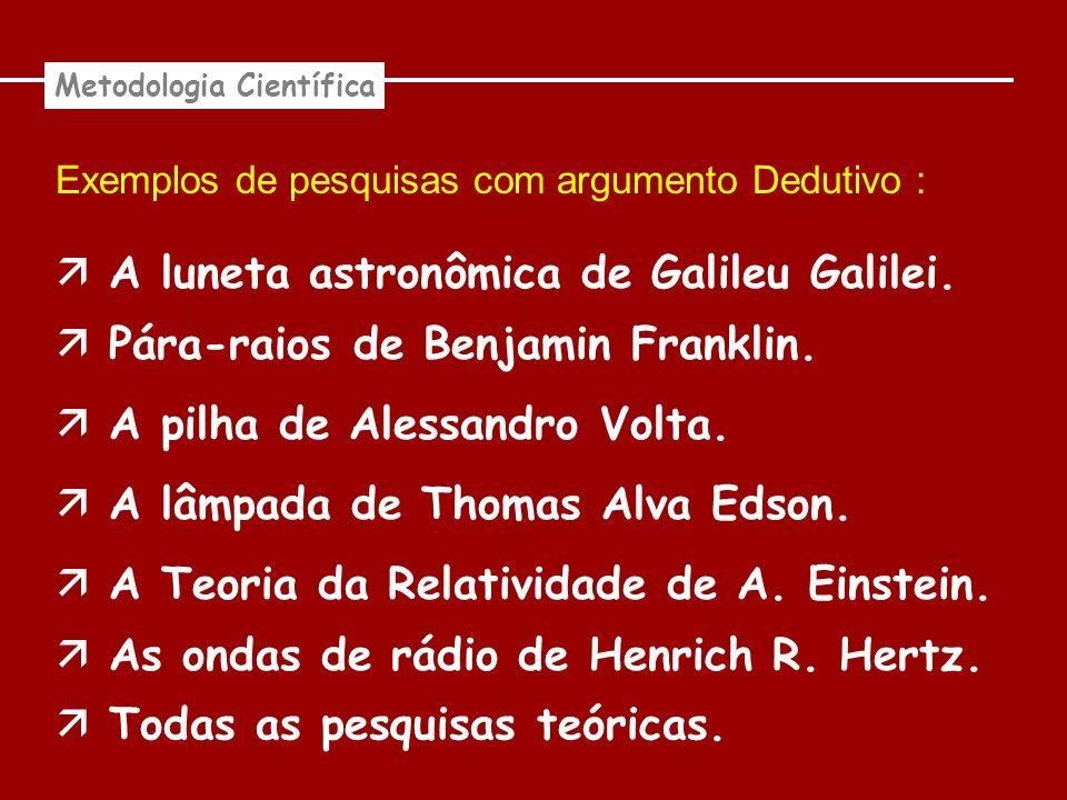 Exemplos de pesquisas com argumento Dedutivo : Metodologia Científica A luneta astronômica de Galileu Galilei. Pára-raios de Benjamin Franklin. A pilh