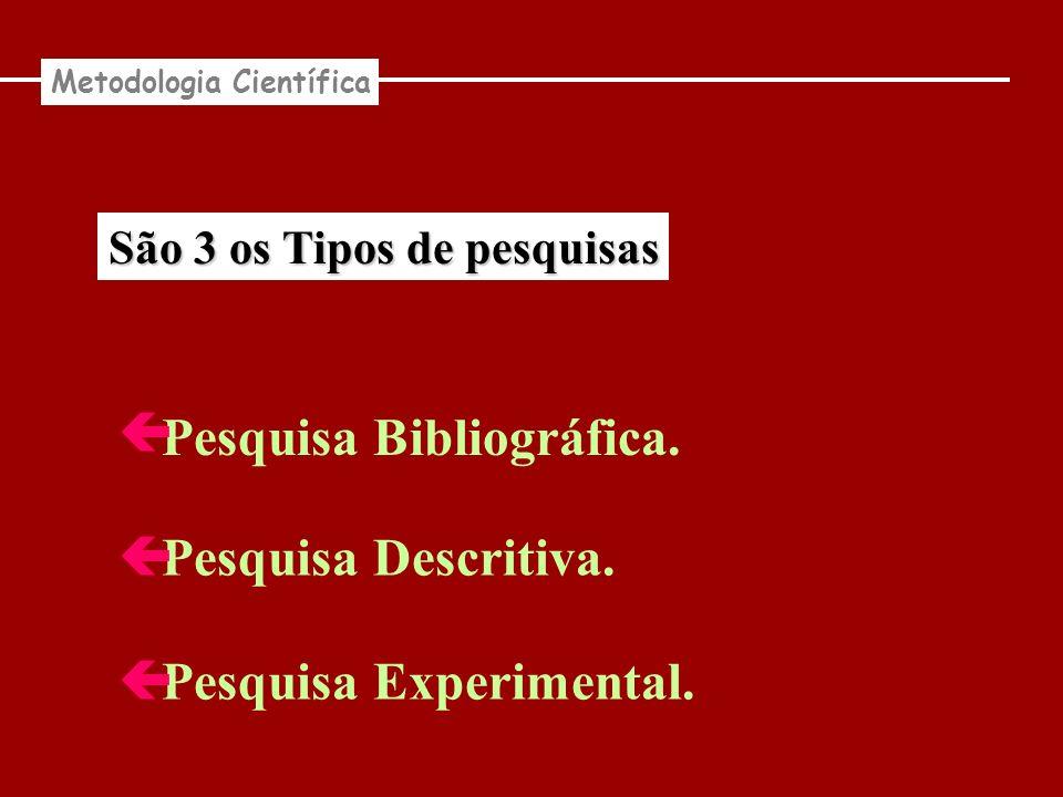 São 3 os Tipos de pesquisas Pesquisa Bibliográfica. Pesquisa Descritiva. Pesquisa Experimental. Metodologia Científica