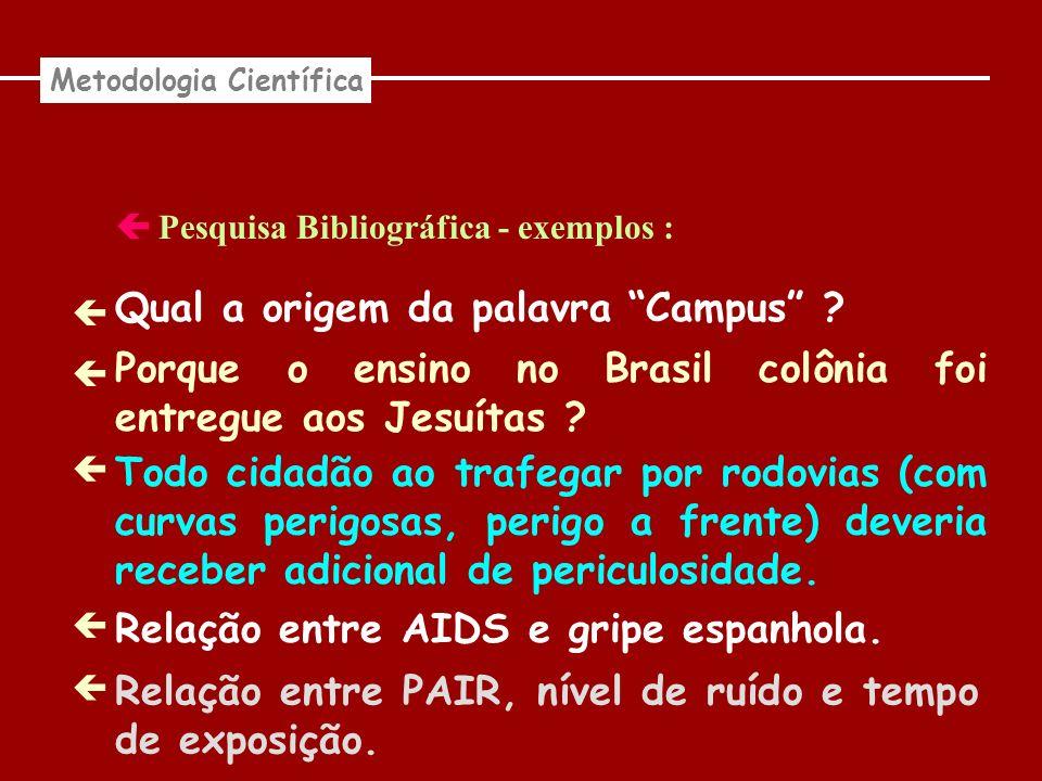 Pesquisa Bibliográfica - exemplos : Metodologia Científica Qual a origem da palavra Campus ? Porque o ensino no Brasil colônia foi entregue aos Jesuít