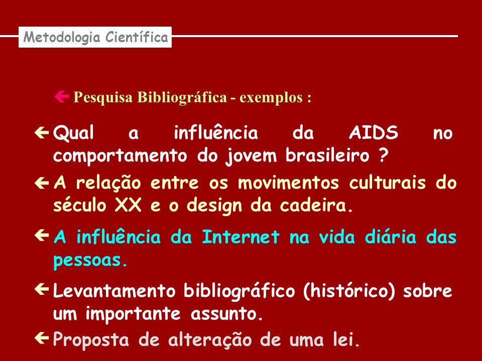 Pesquisa Bibliográfica - exemplos : Metodologia Científica Qual a influência da AIDS no comportamento do jovem brasileiro ? A relação entre os movimen