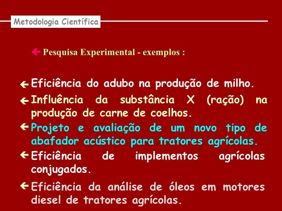 Pesquisa Experimental - exemplos : Metodologia Científica Eficiência do adubo na produção de milho. Influência da substância X (ração) na produção de