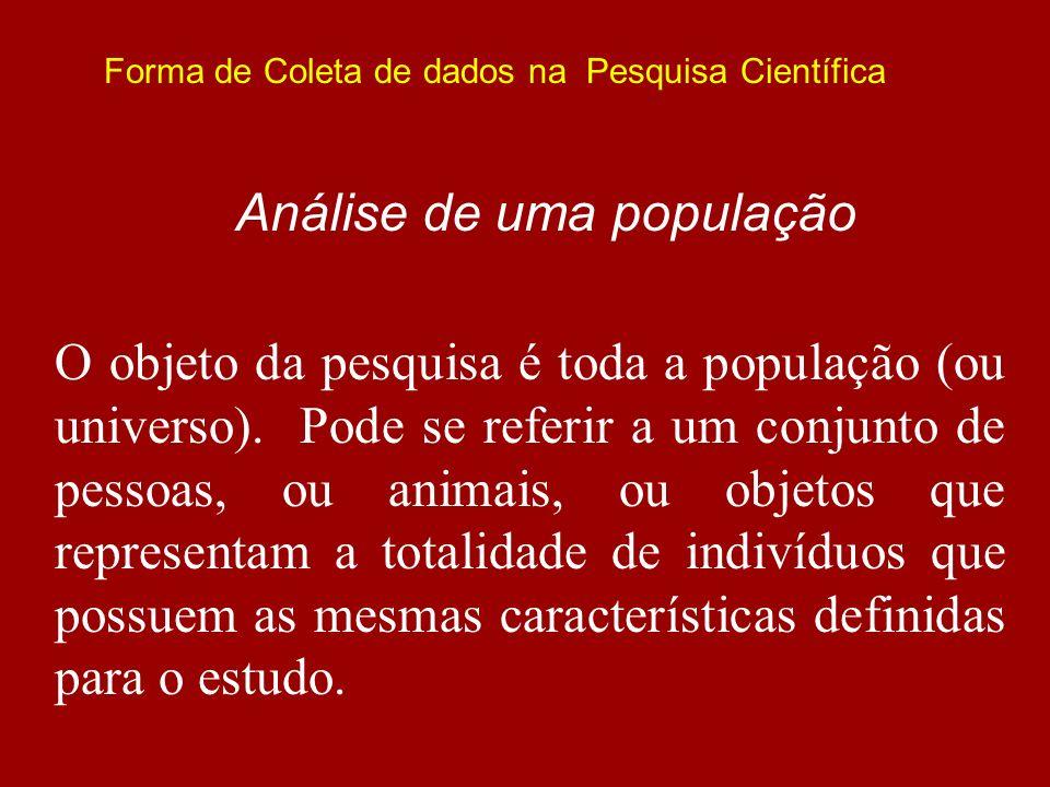 Forma de Coleta de dados na Pesquisa Científica Análise de uma população O objeto da pesquisa é toda a população (ou universo). Pode se referir a um c