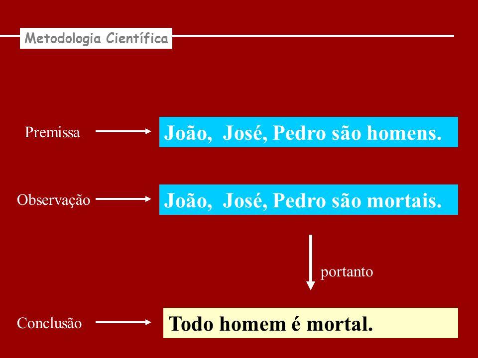 João, José, Pedro são homens. Todo homem é mortal. portanto Metodologia Científica Observação Premissa João, José, Pedro são mortais. Conclusão