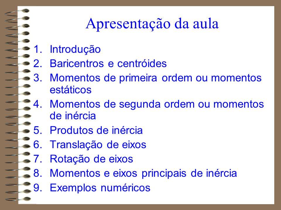 Apresentação da aula 1.Introdução 2.Baricentros e centróides 3.Momentos de primeira ordem ou momentos estáticos 4.Momentos de segunda ordem ou momento