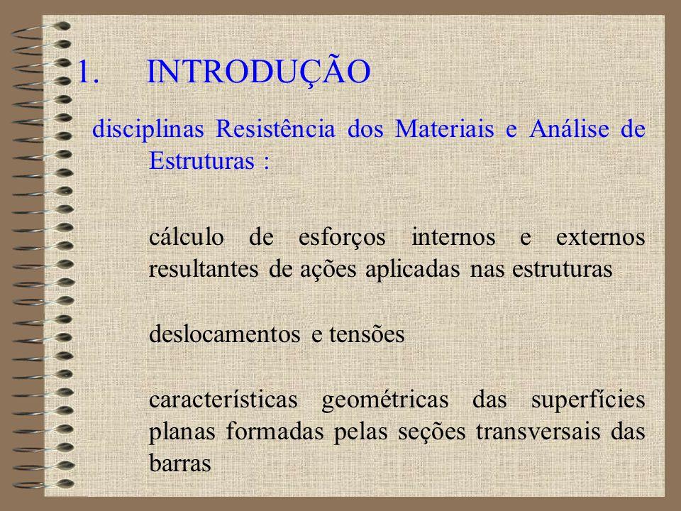 1. INTRODUÇÃO disciplinas Resistência dos Materiais e Análise de Estruturas : cálculo de esforços internos e externos resultantes de ações aplicadas n