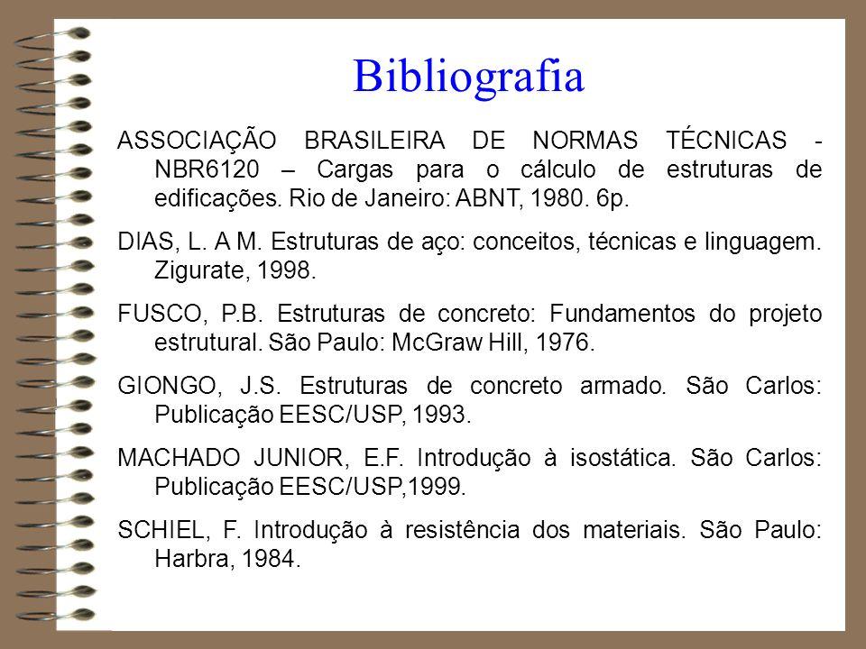 ASSOCIAÇÃO BRASILEIRA DE NORMAS TÉCNICAS - NBR6120 – Cargas para o cálculo de estruturas de edificações. Rio de Janeiro: ABNT, 1980. 6p. DIAS, L. A M.
