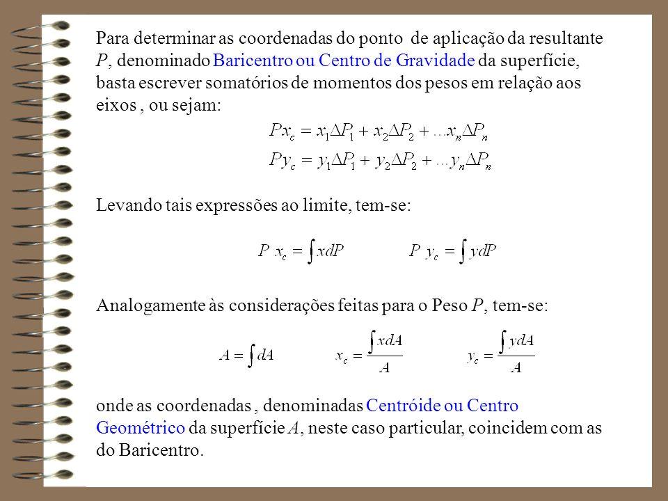 Para determinar as coordenadas do ponto de aplicação da resultante P, denominado Baricentro ou Centro de Gravidade da superfície, basta escrever somat